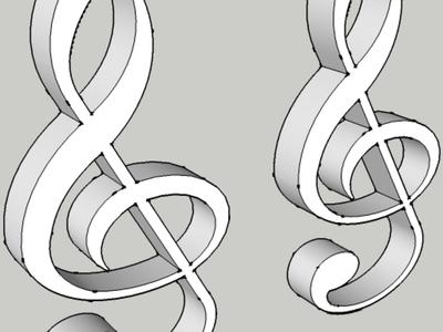 高音谱号耳环-3d打印模型