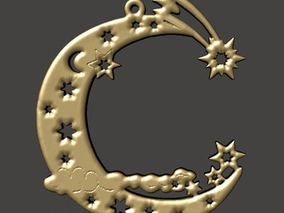圣诞树饰品-月亮和星星