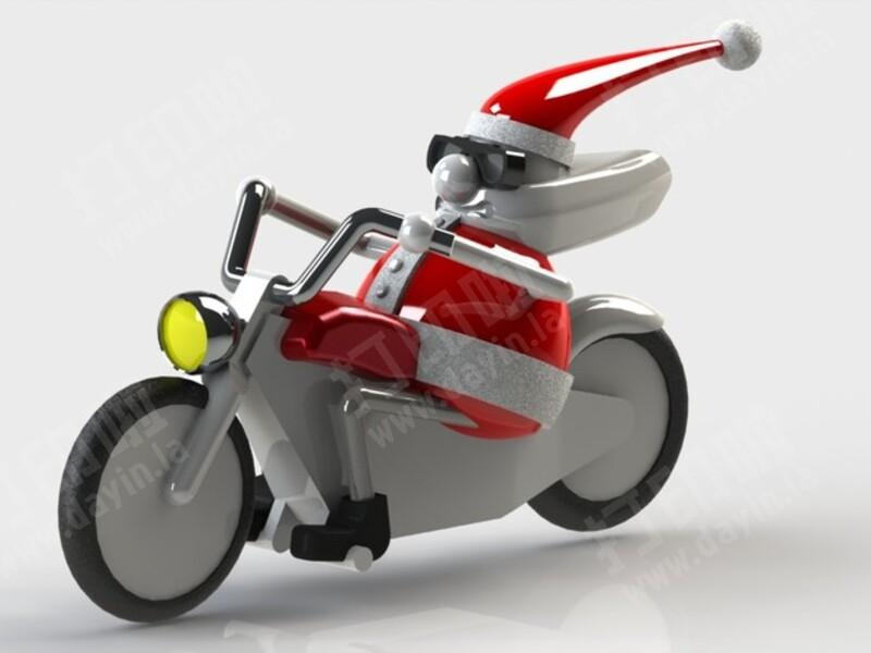 骑摩托的圣诞老人-3d打印模型