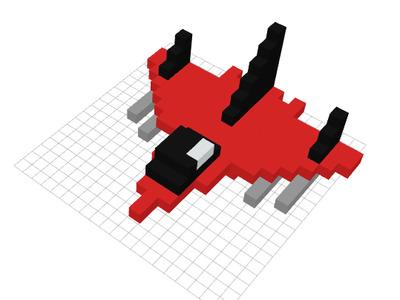 方块飞机-3d打印模型
