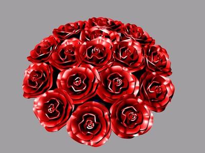 祝福情人節快樂-玫瑰花一束-3d打印模型