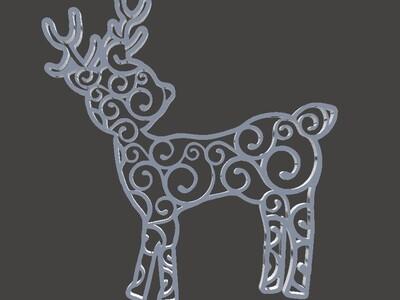 圣诞树装饰品-漩涡驯鹿