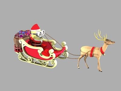 圣诞老人和小鹿-3d打印模型