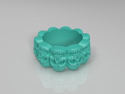 裂痕骷髅环戒指-3d打印模型