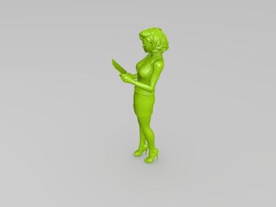 看书的美女-3d打印模型