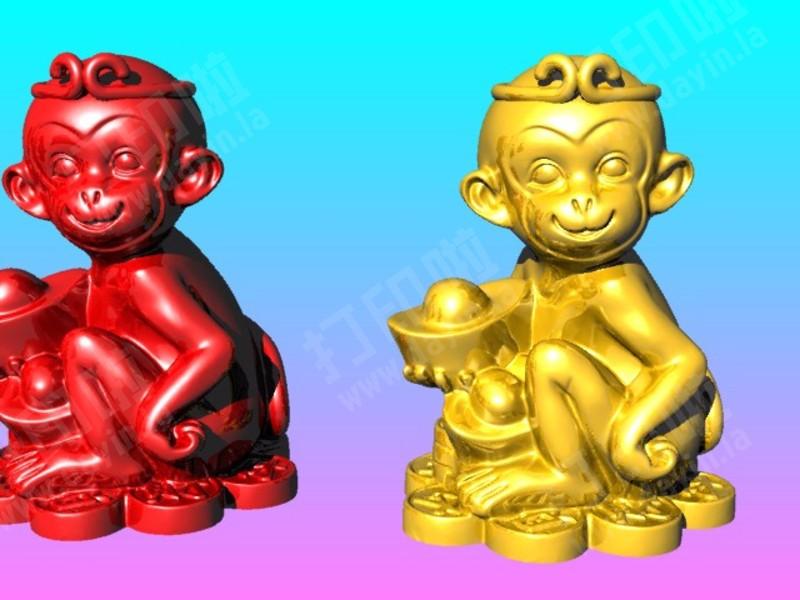 猴王獻元寶-存钱筒-3d打印模型