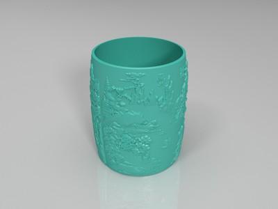 春夏秋冬创意3D打印浮雕笔筒模型 -3d打印模型