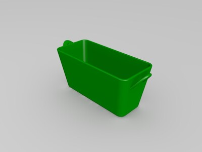 ZAKA风多肉阔口长方花器-3d打印模型