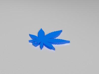 大麻叶钥匙扣-3d打印模型