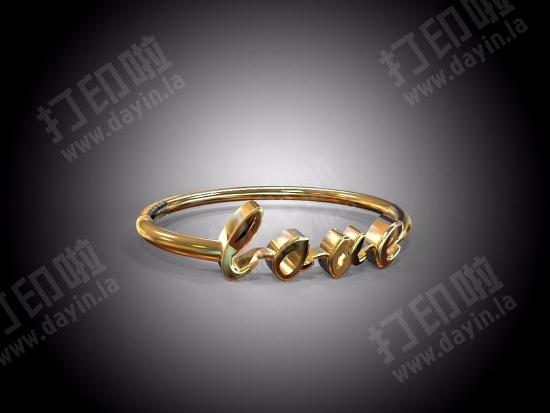 女士LOVE黃金戒-3d打印模型