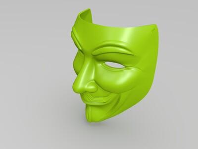 v字仇杀队面具-3d打印模型