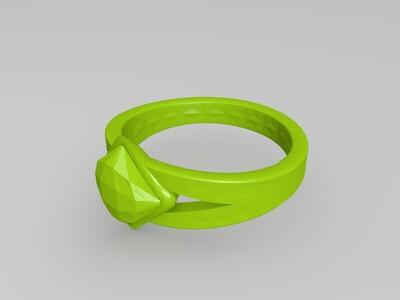 方形宝石戒指-3d打印模型