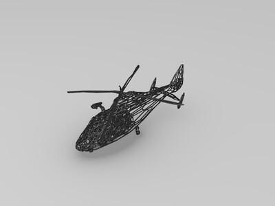 镂空直升飞机-3d打印模型