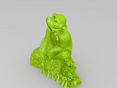 十二生肖-猴-精修+支撑-3d打印模型