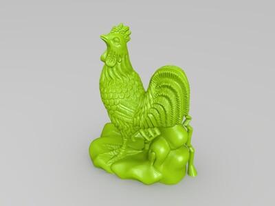 十二生肖-鸡-精修+支撑-3d打印模型