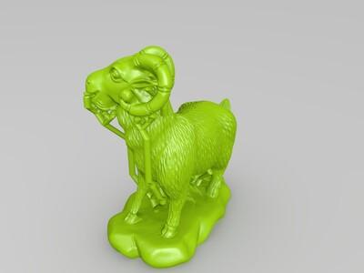 十二生肖-羊-精修+支撑-3d打印模型
