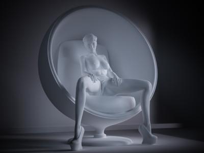 坐在椅子里的性感女郎-3d打印模型