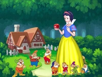 卡通白雪公主和7个小矮人动画-3d打印模型