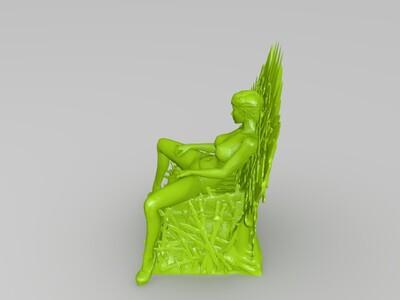 坐在铁王座上的女人-3d打印模型