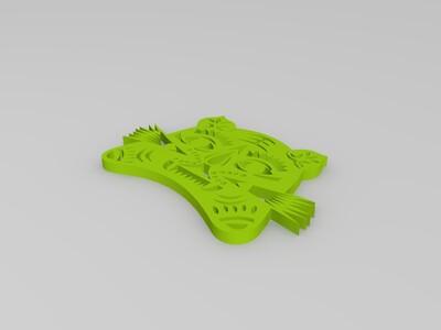剪纸(虎)-3d打印模型