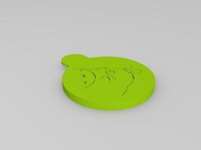 咖啡灑花 龍貓-3d打印模型