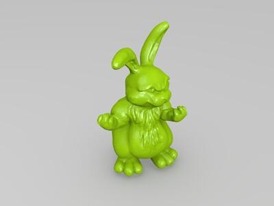 生气 愤怒 兔子 发怒 入魔-3d打印模型