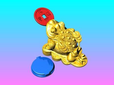 招财进宝金蟾存錢筒-3d打印模型