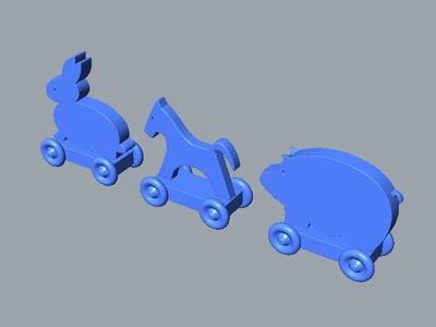 玩具兔,猪或马-3d打印模型