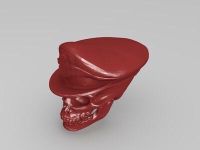 戴军帽的骷髅-3d打印模型