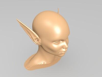 光头尖耳的女精灵-3d打印模型