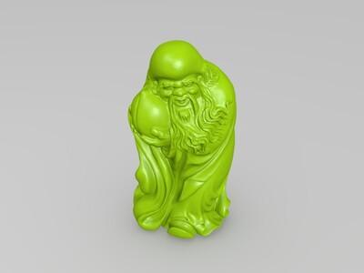 寿星捧桃-3d打印模型