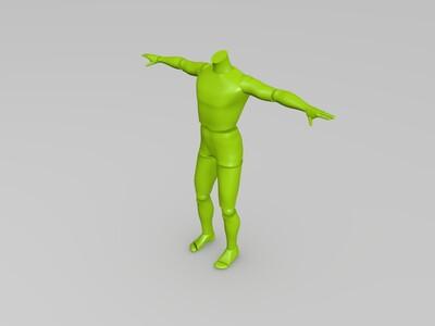 打印后可自由活动关节的仿真人3-3d打印模型
