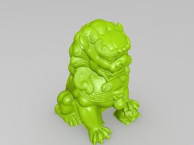 石雕狮子 守护 大狮子小狮子-3d打印模型