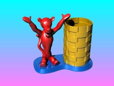跳跳虎笔筒-3d打印模型