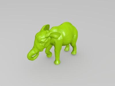 进食的大象-3d打印模型