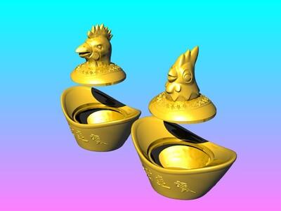 金鸡年糖果罐-3d打印模型