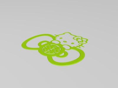 """春联-KITTY""""喜""""福""""窗花-3d打印模型"""