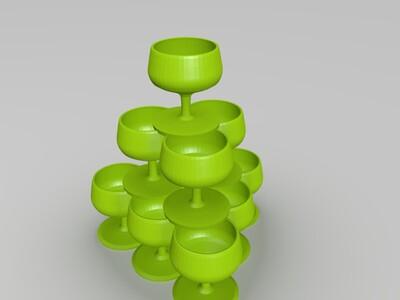 香槟塔花盆(牛,无需支架)-3d打印模型