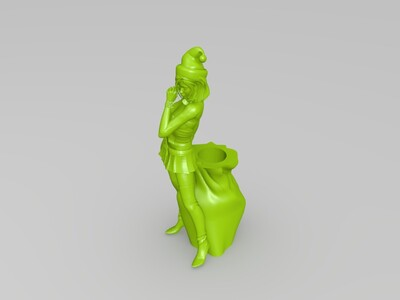 美女 笔筒-3d打印模型