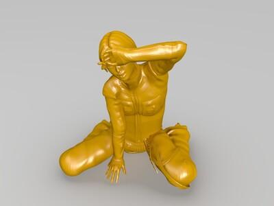 坐着的小女孩-3d打印模型