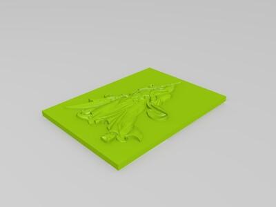 关公浮雕关羽-3d打印模型