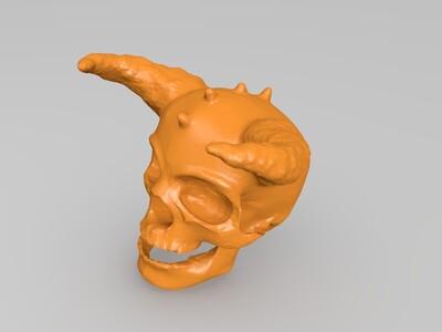有角的骷髅-3d打印模型