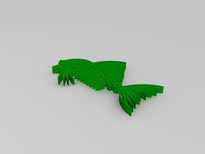 扭转弯曲食人鱼骨架-3d打印模型