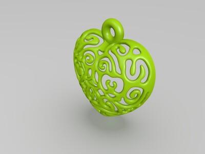 镂空爱心灯饰-3d打印模型