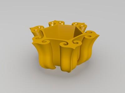 如意形花盆-3d打印模型