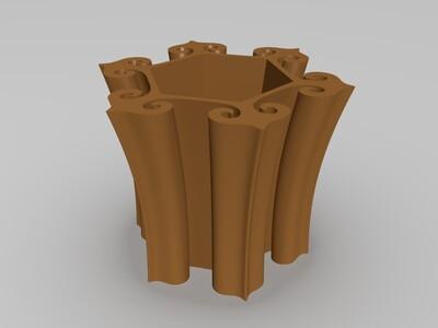 如意笔筒-3d打印模型