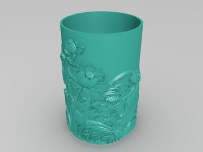 荷花笔筒-3d打印模型