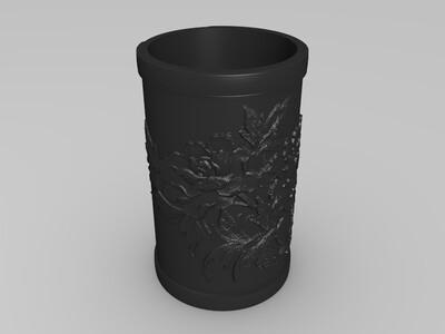 花笔筒-3d打印模型
