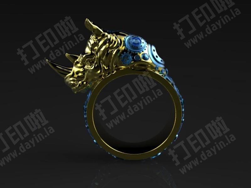 朋克风犀牛戒指-3d打印模型