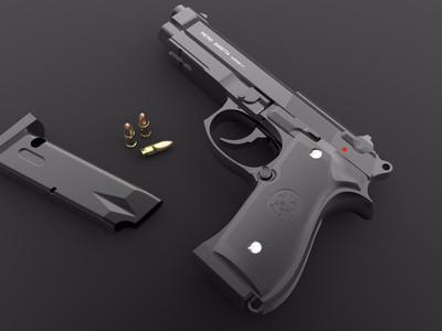 伯莱塔 92F 型手枪-3d打印模型